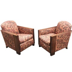 Pair of Art Deco Armchairs, Walnut Structure