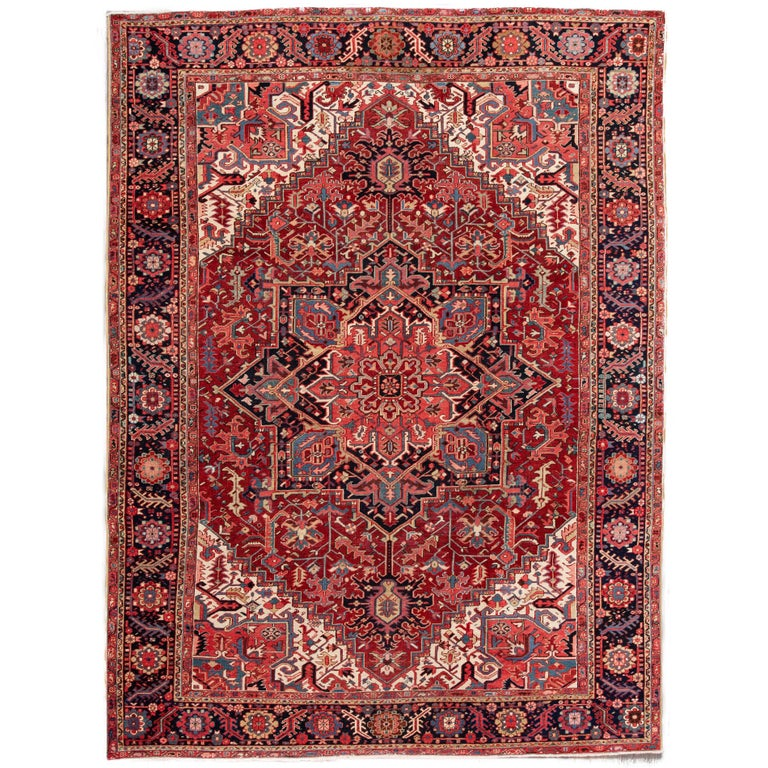 Large Antique Red/Rust Geometric Heriz Carpet For Sale