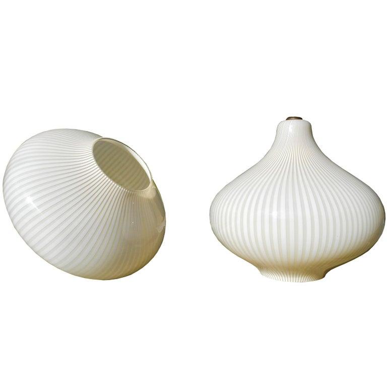 """Pair of Massimo Vignelli Pendant Glass """"Cipolla"""" 'Onion' Lamps for Venini, Italy"""