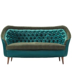 Italian Reupholstered Quilted Sofa, 1950s