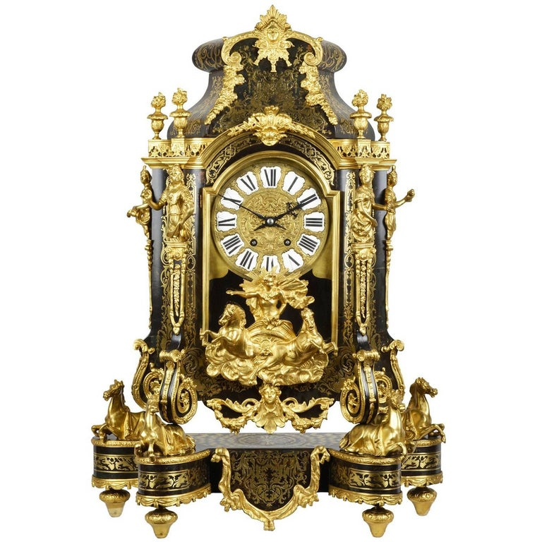 Large, 19th Century Boulle inlaid Mantel clock For Sale