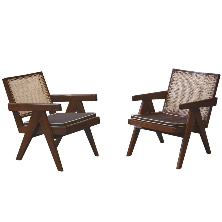 Pierre Jeanneret Pair of Easy Armchairs, circa 1955 For Sale