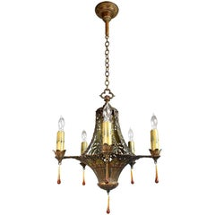 Five Candle Polychrome Chandelier with Floral Details