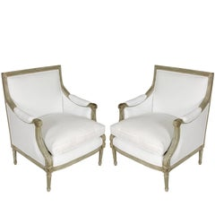 Pair of Louis XVI Style Bergere Chairs