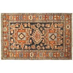 Antique Persian Heriz Karaja Oriental Rug, in Small Square Size with Jewel Tones