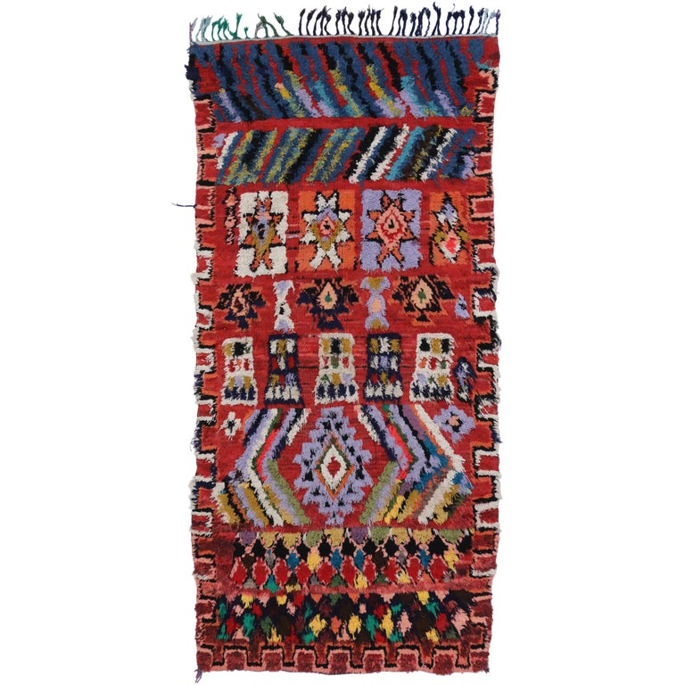 Vintage Berber Red Moroccan Rug with Modern Tribal Style