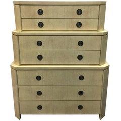 Rare Bleached Primavera Triple Dresser by Charles Pfister for Baker