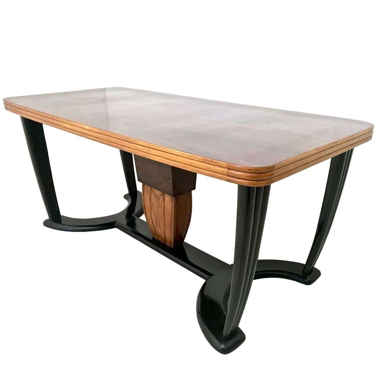 Wooden Dining Table with Black Opaline Glass Top, Italy, 1940s