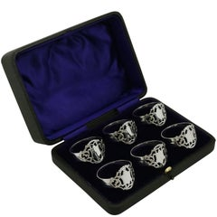Antique Edwardian 1900s Sterling Silver Napkin Rings Set of Six