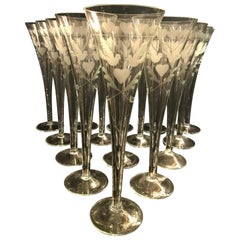 Vintage French Engraved Champagne Flutes
