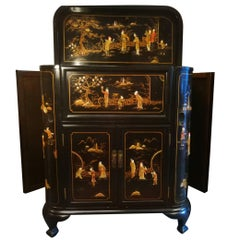 Midcentury Chinoiserie Inlaid Decorated Mahogany Bar Buffet, Black Laquered