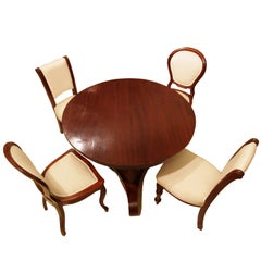 19th Century, Mahogany Set of Center Table and Four Chairs