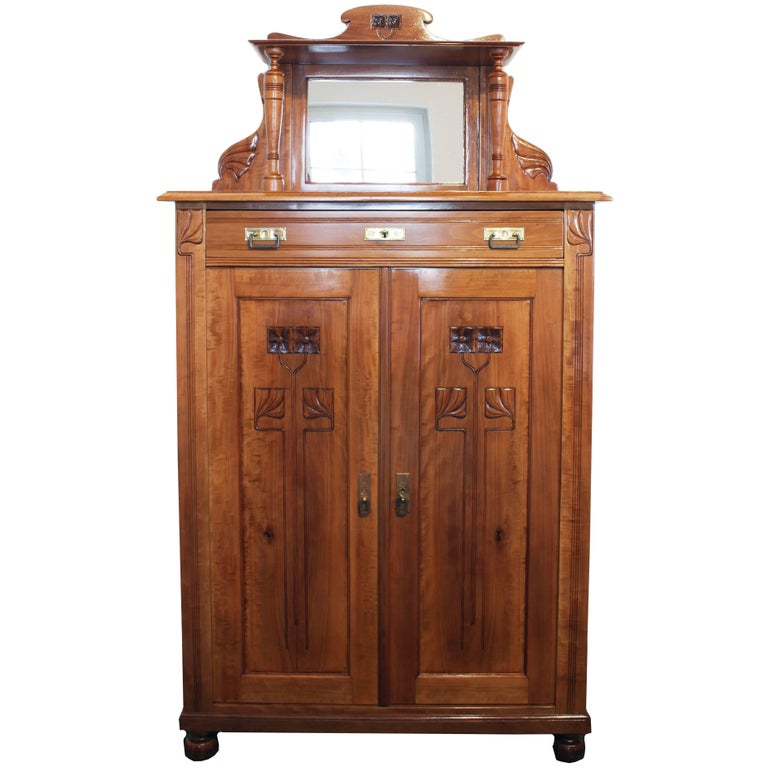 Late 19th Century Art Nouveau Plum-Wood Cabinet or Vertiko