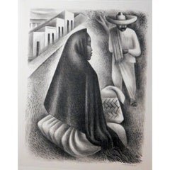 "Miguel Covarrubias Original Stone Lithograph, 1940, ""Mexican Street Scene"""