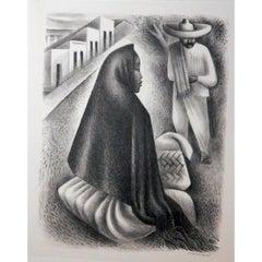 "Miguel Covarrubias Original Stone Lithograph, 1940, ""Mexican Street Scene"""