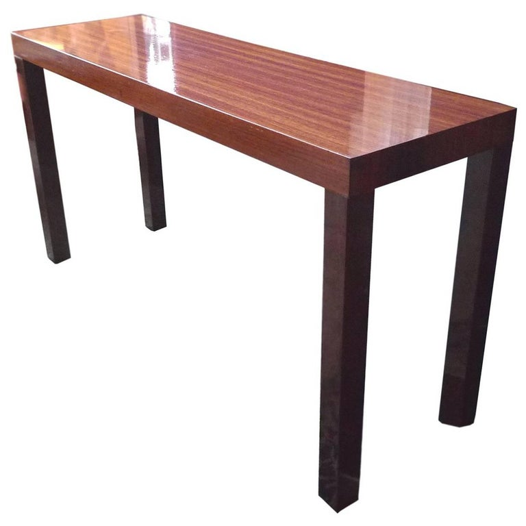 1960s Lacquered Mahogany Parsons Console Table By Dyrlund