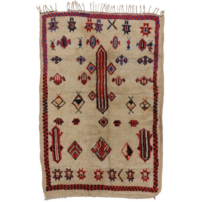 Maroc Tribal Rug: Vintage Azilal Berber Moroccan Rug With Tribal Symbols For