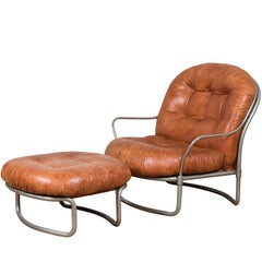 Midcentury French Leather Chair and Ottoman