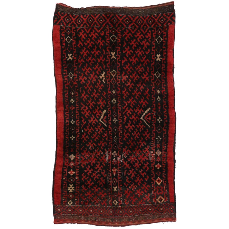Mid Century Modern Style Red Berber Moroccan Rug With: Mid-Century Modern Berber Moroccan Rug With Abstract