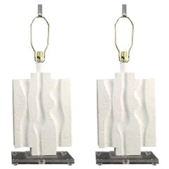 Pair of Brutalist Lamps on Lucite