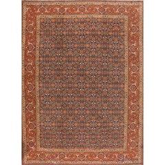 Last Quarter 21st Century Rust/Blue Floral Tabriz Carpet