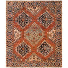 Antique 1900s Geometric Rust/Blue Heriz Carpet