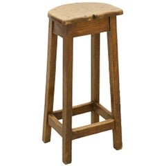 Antique Oak Bar Stool, Edwardian