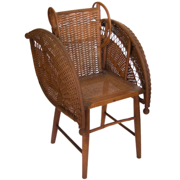 Rattan Chair by Heywood Wakefield in Reed, Rattan and Wood