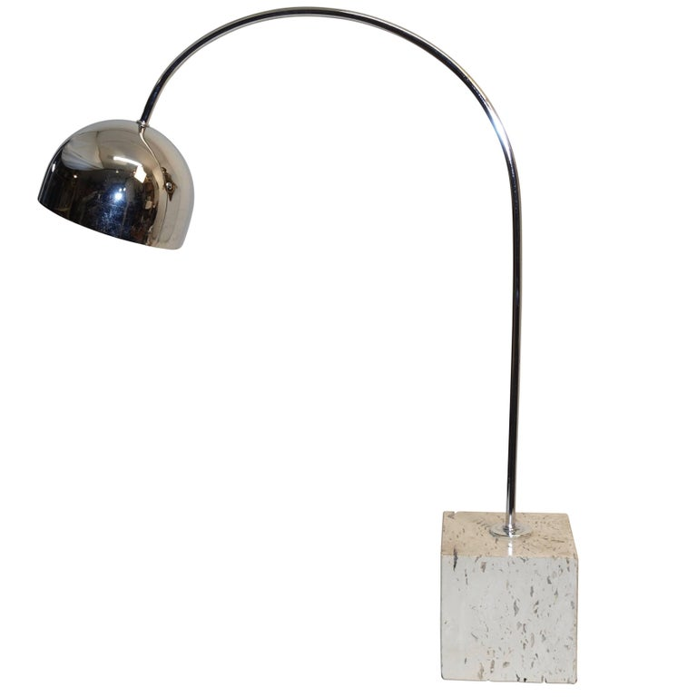 Midcentury Chrome and Travertine Arc Lamp by Harvey Guzzini For Sale