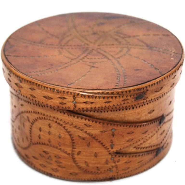 Early 19th Century Folk Art Decorated Bentwood Storage Box