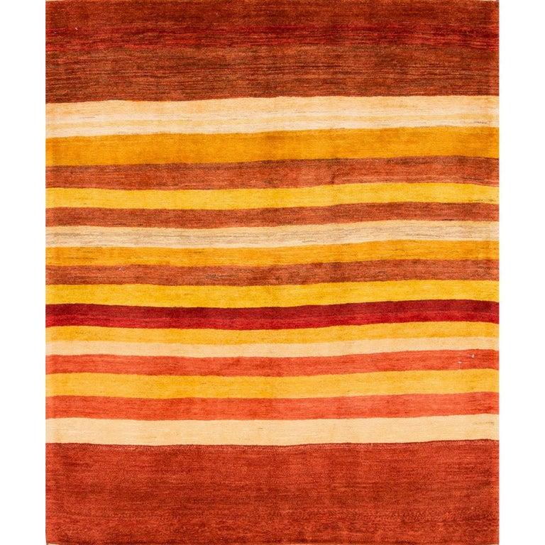 21st Century Rust/Striped Persian Gabbeh Carpet