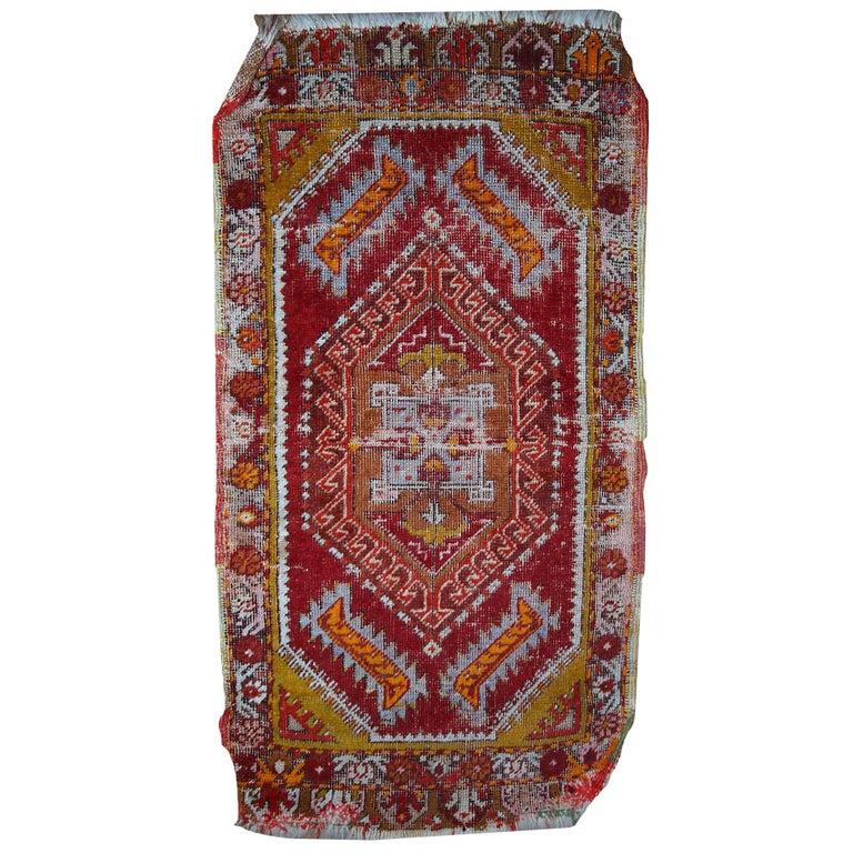 Turkish Yastik Rug: Handmade Antique Collectible Turkish Yastik Rug, 1920s For