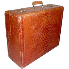 Vintage Dionite Genuine Leather Luggage in Alligator Look