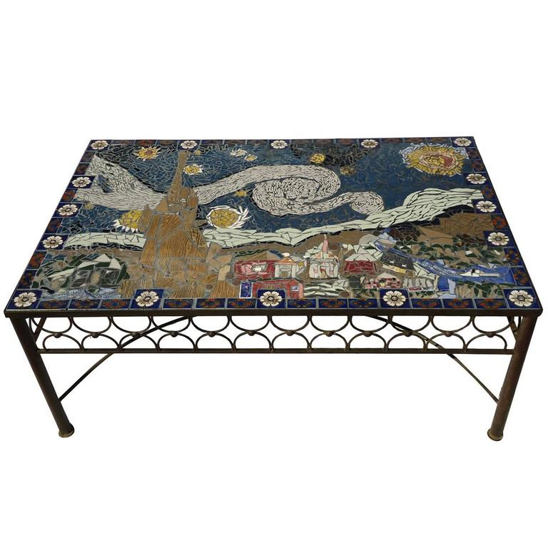 Good Studio Mid Century Mosaic Tile Coffee Table Van Gogh Style California 1