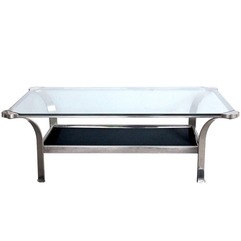 Stylish french 1970s steel rectangular form coffee table for Rectangular coffee table with glass top