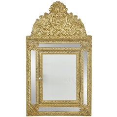 20th Century Aesthetic Movement Inspired Brass Hall Cushion Mirror
