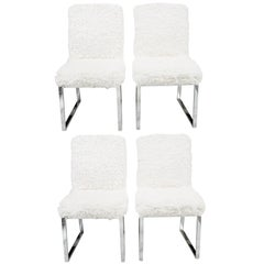 Set of Four Milo Baughman Faux Sheepskin and Chrome Dining Chairs