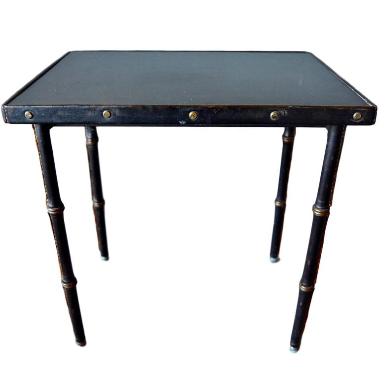 Jacques Adnet Leather Side Table For Sale