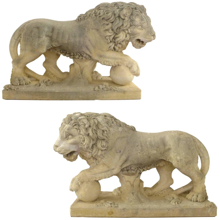 Pair Of Italian Life Sized Carved Limestone Lion Statues For