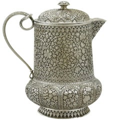 1880s Antique Indian Silver Water Jug