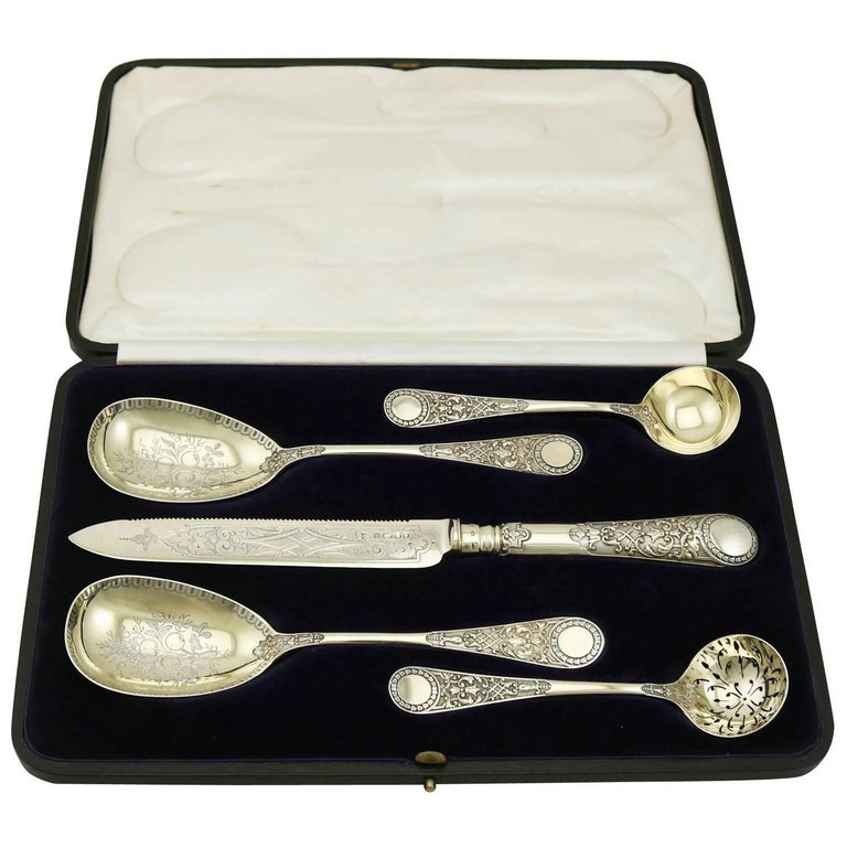 1880s Victorian Sterling Silver Fruit Serving Set by Sibray Hall & Co For Sale
