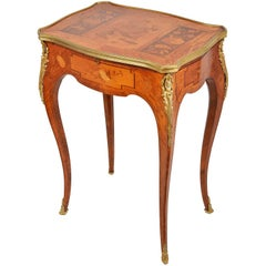 Louis XVI Style Marquetry Side Table, 19th Century