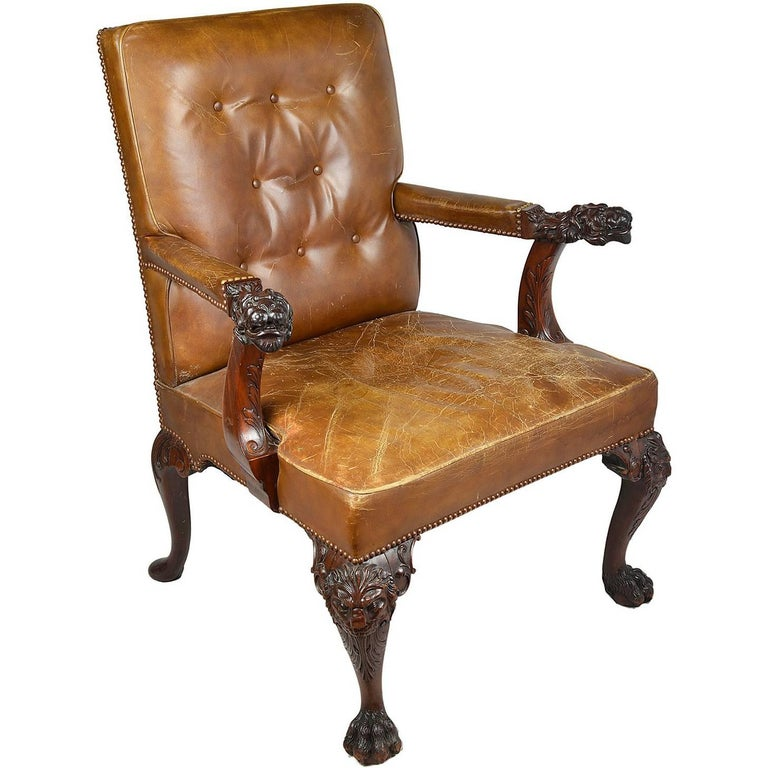 Chippendale Influenced Desk Chair, circa 1890 For Sale