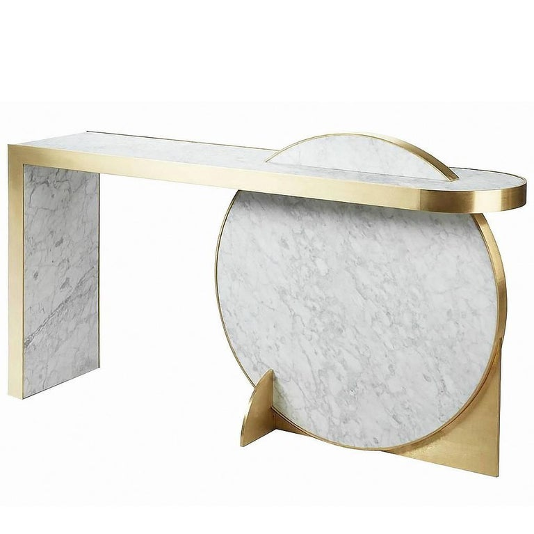 """""""Collision"""" Carrara Marble and Brass or Gold-Plated Console Table by L. Bohinc"""