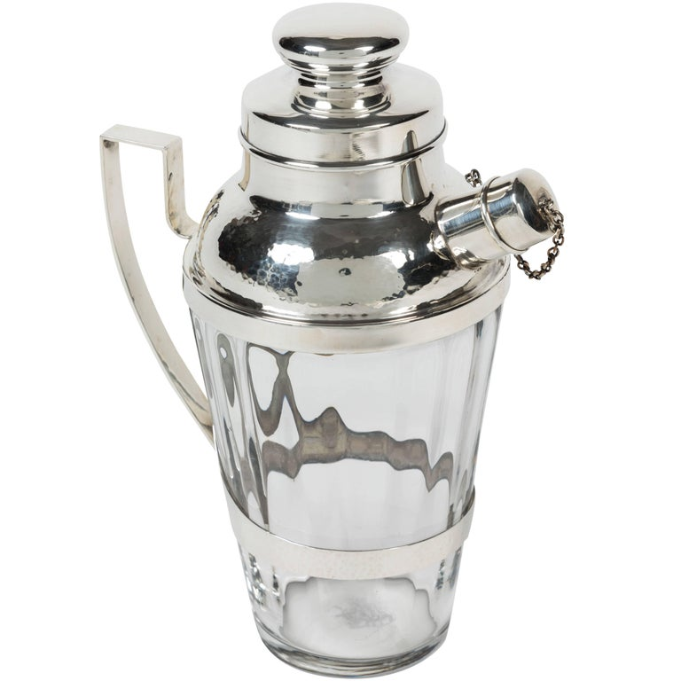 Unique Crystal and Hammered Sterling Silver Cocktail Shaker by Webster Company