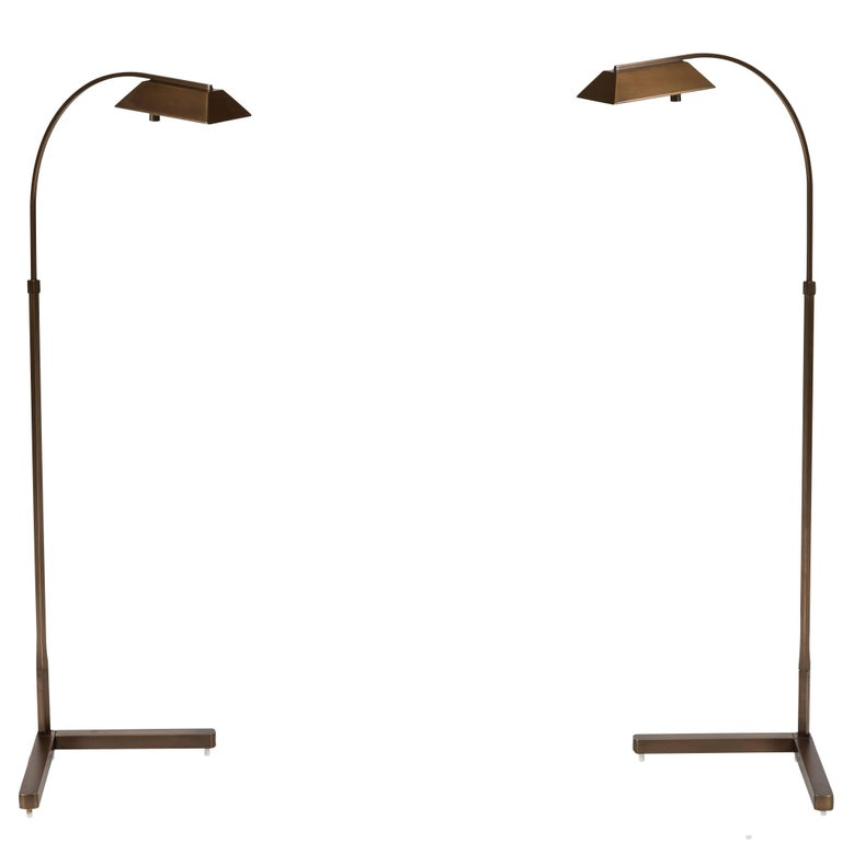 Beautiful Pair of Vintage Brass Task Lamps by Casella Lamps