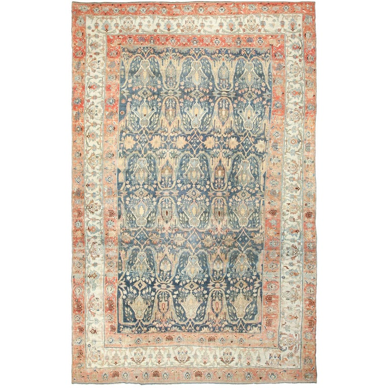 Large Blue Background Antique Bidjar Persian Rug For Sale