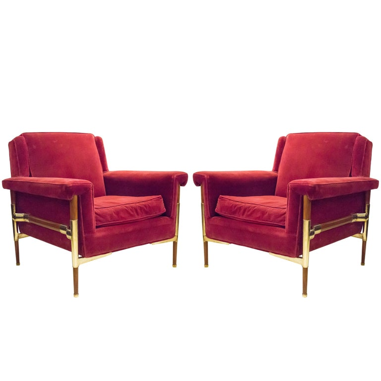Unusual Pair of Italian Midcentury Lounge Chairs For Sale