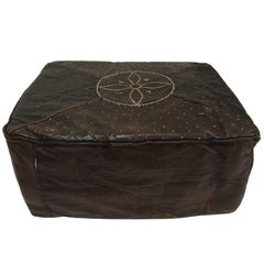 African Brown Rectangular Vintage Embroidered Leather Pouf