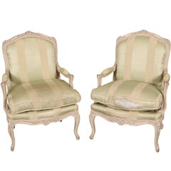 Pair of Vintage French Paint Decorated Open Armchairs